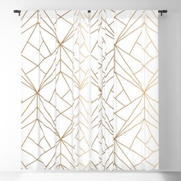Geometric Gold Pattern With White Shimmer Blackout Curtain