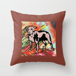 Super dog pop art Throw Pillow