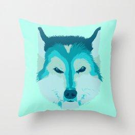 husky - teal Throw Pillow