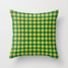 Plaid (green/yellow) Throw Pillow