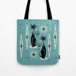 Mid Century Meow Retro Atomic Cats on Blue Tote Bag