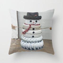 Tire Snowman Throw Pillow
