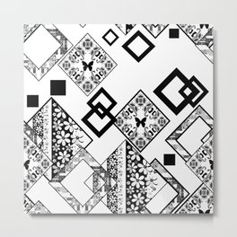 Black and white applique Metal Print