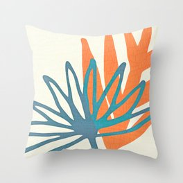 Mid Century Nature Print / Teal and Orange Throw Pillow