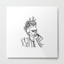 Frida Kahlo Single Line Portrait Metal Print