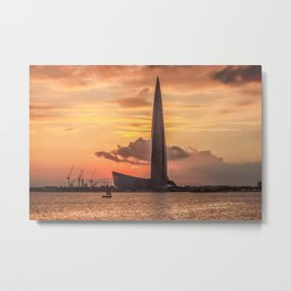 Silhouette Lakhta Center tower at sunset, St. Petersburg, Russia Metal Print