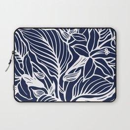 Navy Blue Floral Minimal Laptop Sleeve