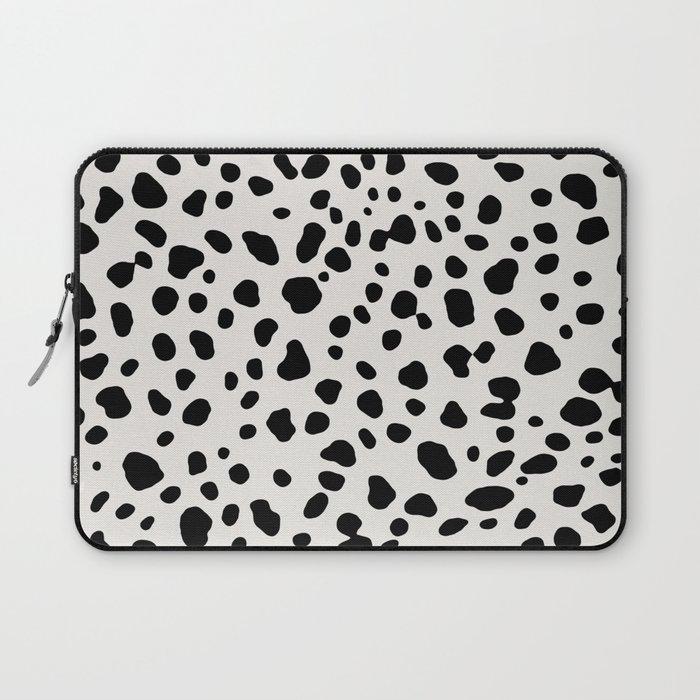 Polka Dots Dalmatian Spots Black And White Laptop Sleeve