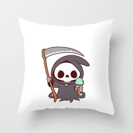 Scary Scythe Creepy Spooky Skeleton Collection Design Halloween Trick Or Treat Death Grim Reaper Throw Pillow