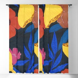 poppies in black Blackout Curtain