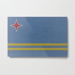 Flag of Aruba, red star and two yellow line with light blue background Metal Print