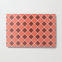 Living Coral and Mauve Moroccan Tile Ornamental Pattern with White Border Metal Print