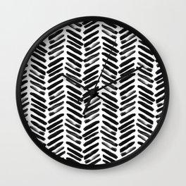 Simple black and white handrawn chevron - horizontal Wall Clock