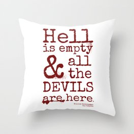 Shakespeare Quote, The Tempest, Devils Throw Pillow
