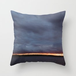 Sliver of Sunset over Portage Lake Throw Pillow