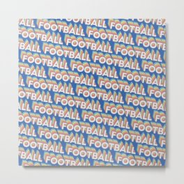 Football Trendy Rainbow Text Pattern (Blue) Metal Print