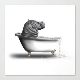 Hippo in Bath Leinwanddruck