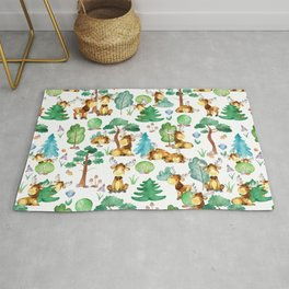 Moose On the Loose Watercolor Woodland Animal Pattern Rug