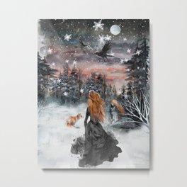 Fairytale winter woman Metal Print