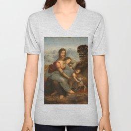 Leonardo da Vinci - Virgin and Child with St Anne Unisex V-Neck