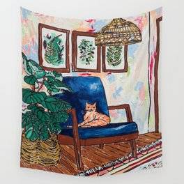 Ginger Cat on Blue Mid Century Chair Painting Wall Tapestry