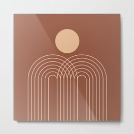 Geometric Lines in Terracotta and Beige 39 (Sun and Rainbows Abstraction) Metal Print