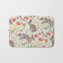Bunny Meadow Pattern - Green Bath Mat