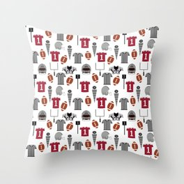 Football Alabama pattern university of alabama crimson tide college sports bama varsity alumni Throw Pillow