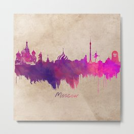 Skyline Moscow purple Metal Print