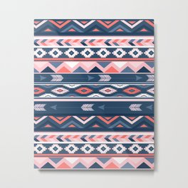 Coral and Navy Boho Ethnic Pattern Metal Print