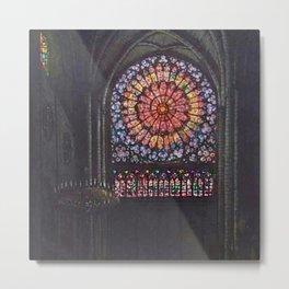 Rose Window Notre-Dame de Paris Cathedral Portrait Painting by T.S. Simon Metal Print