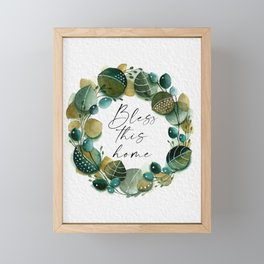 Green Leafy Wreath Framed Mini Art Print