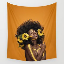 Sunflower Woman Wall Tapestry