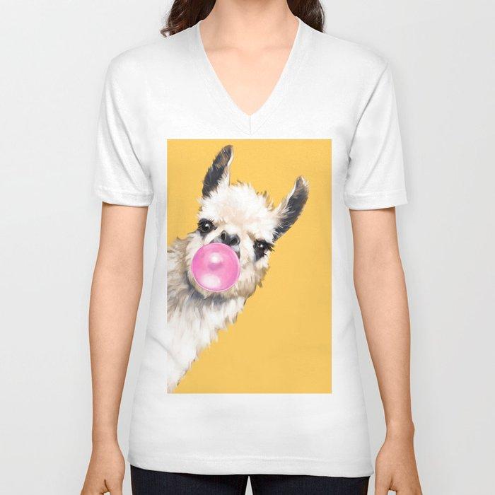Bubble Gum Sneaky Llama in Yellow Unisex V-Ausschnitt