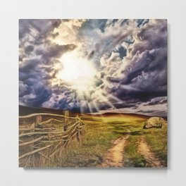 'May the Road Rise Up to Met You' Landscape Painting by Jeanpaul Ferro Metal Print