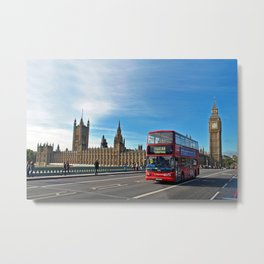 Red Bus Westminster Bridge Houses of Parliament Metal Print