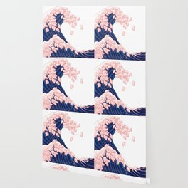 Pink Pigs Waves in White Wallpaper