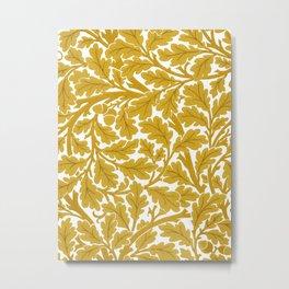 William Morris Oak Leaves, Mustard Yellow & White Metal Print