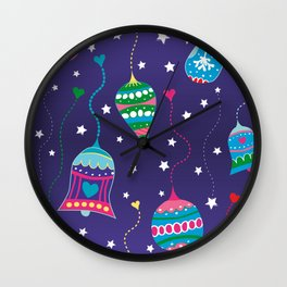 Christmas colorful ball ornaments Wall Clock