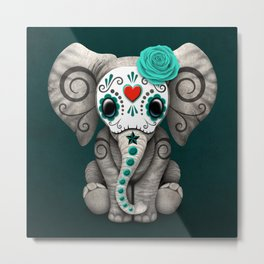 Teal Blue Day of the Dead Sugar Skull Baby Elephant Metal Print