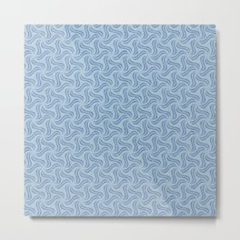 Faux Velvet Pinwheel Pattern in Blue on Blue Metal Print