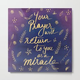 Purple Blue Typography Prayer Miracle Faith Spirituality Quote Watercolor Motivational Art Print Metal Print