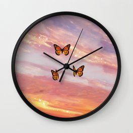 Butterfly Sunset Aesthetic Wall Clock