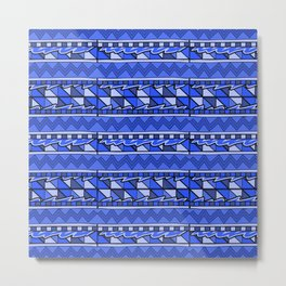 Latin American Pattern Blue. Zigzag Squares Triangle Patterns. Mexican Art. Funky Metal Print