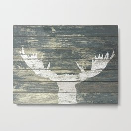 Rustic White Moose Silhouette A424a Metal Print
