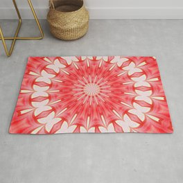 Star White and Red Butterfly Motif Mandala Rug