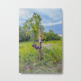 Water Pump on Abandoned Farm, North Dakota Metal Print