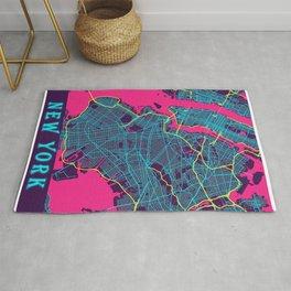 New York Neon City Map, New York Minimalist City Map Rug