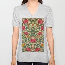 William Morris Roses Floral Textile Pattern Unisex V-Neck