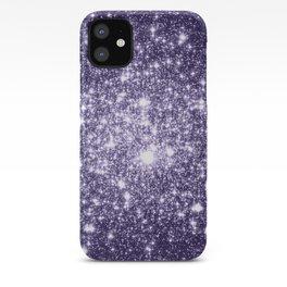 Dark Grape Purple Sparkle Stars iPhone Case